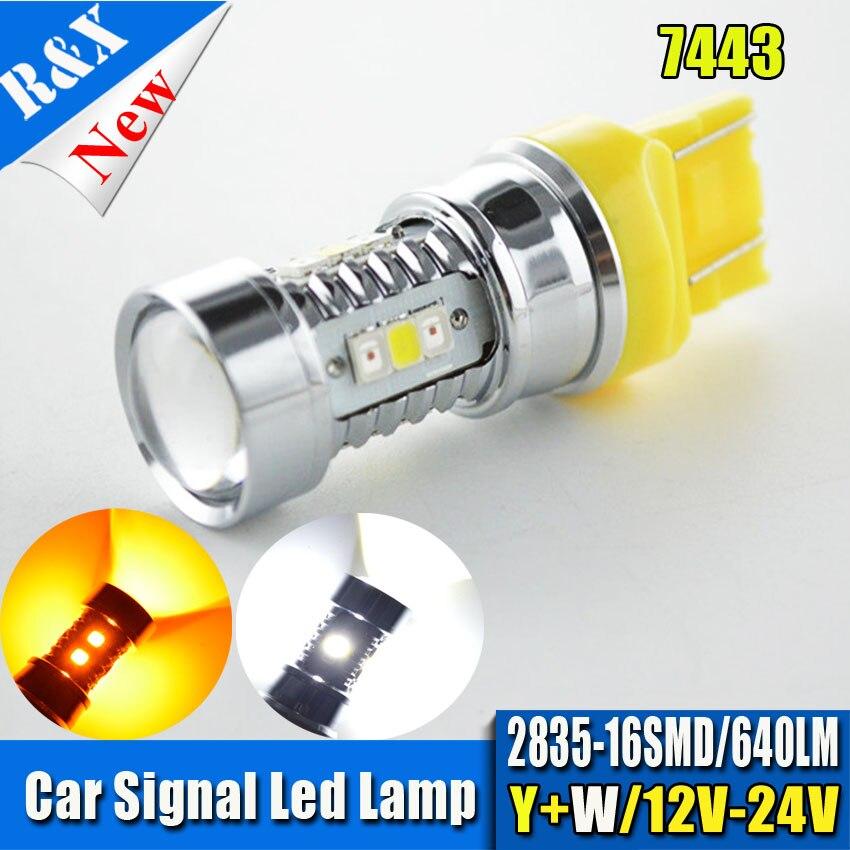 1piece W/AHigh Power 7443 Dual-Color Switchback White+Amber 16-SMD Samsung 2835LED Turn Signal Bulbs 12V 24V