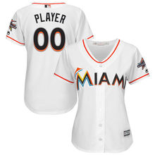 19296eafb MLB Women s Miami Marlins White 2017 Cool Base Custom Jersey with All-Star  Game Patch