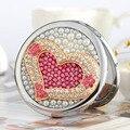 Выгравировать wordrs, bling горный хрусталь любовь сердца, Мини Красоты карманное компактное зеркало для макияжа, 2 стороны, свадьба день рождения девушке подарок