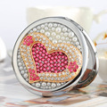 Engrave wordrs free,bling rhinestone love heart,Mini Beauty pocket makeup compact mirror,2 side,wedding party birthday girl gift