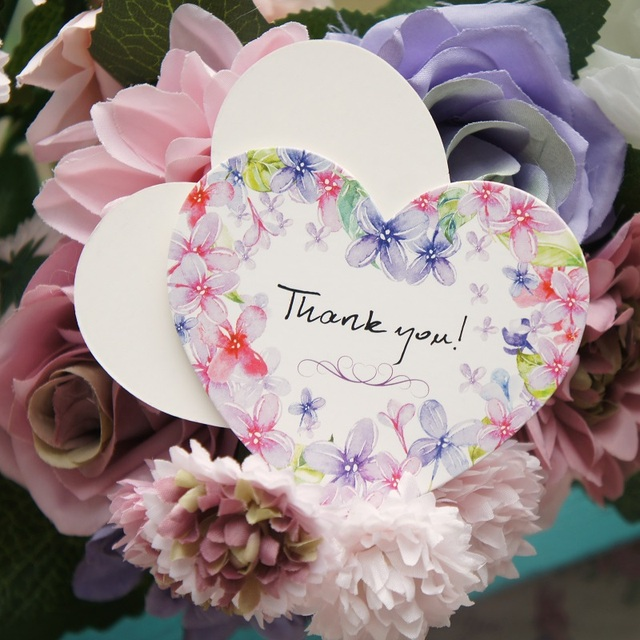 50pcs heart shape thank you Card purple flower style leave message