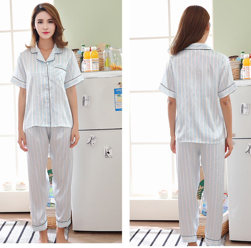 Womens pajamas sets silk satin nightwear Long pants + short sleeve tops  pyjamas women summer sleepwear stripe pajamas femme-in Pajama Sets from  Underwear ... 95d9b5226