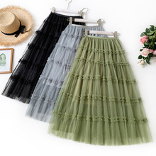 Wasteheart Summer Women Fashion Green Gray Skirts High Waist Ball Gown Pleated Ankle Length Skirt Mesh Clothing A-Line