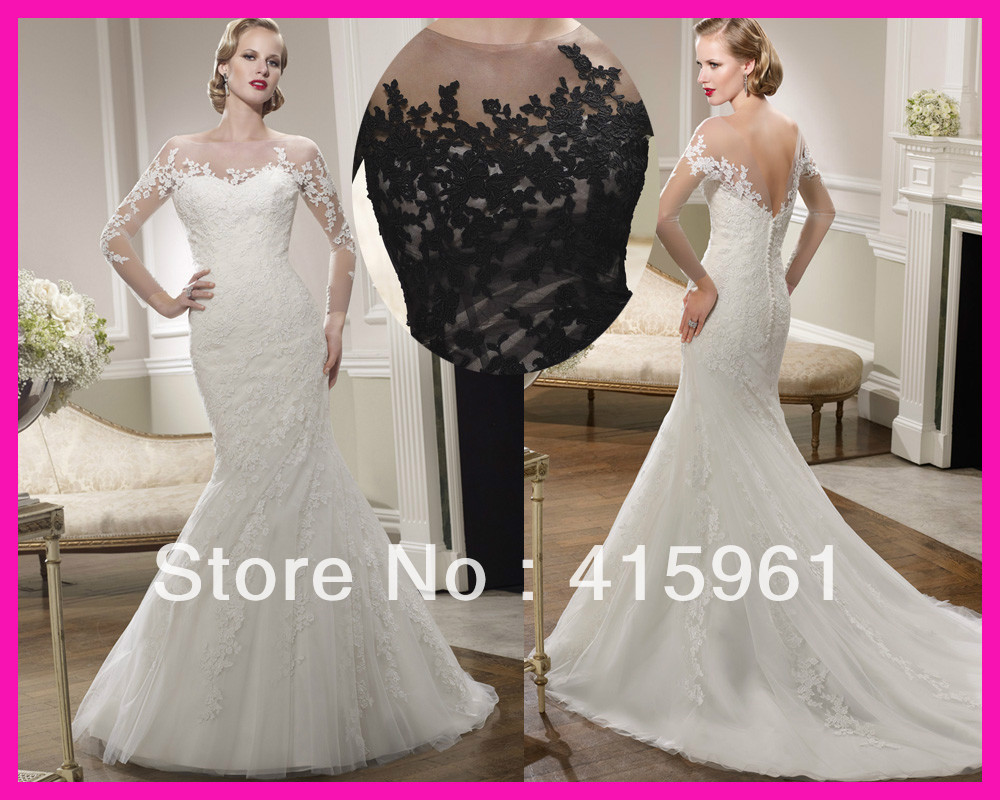 Mermaid Wedding Gowns With Sleeves: 2014 Victorian Vintage Scoop Lace Mermaid Wedding Dresses