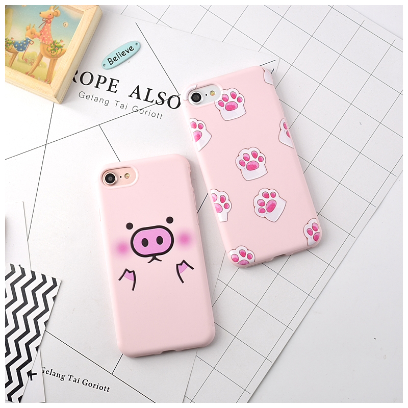 Cat Palm&Lovely Pig Soft TPU Phone Capa Case For iphone 6 6plus Case,Candy Color Silicone Clear Back Cover For iphone 7 7plus