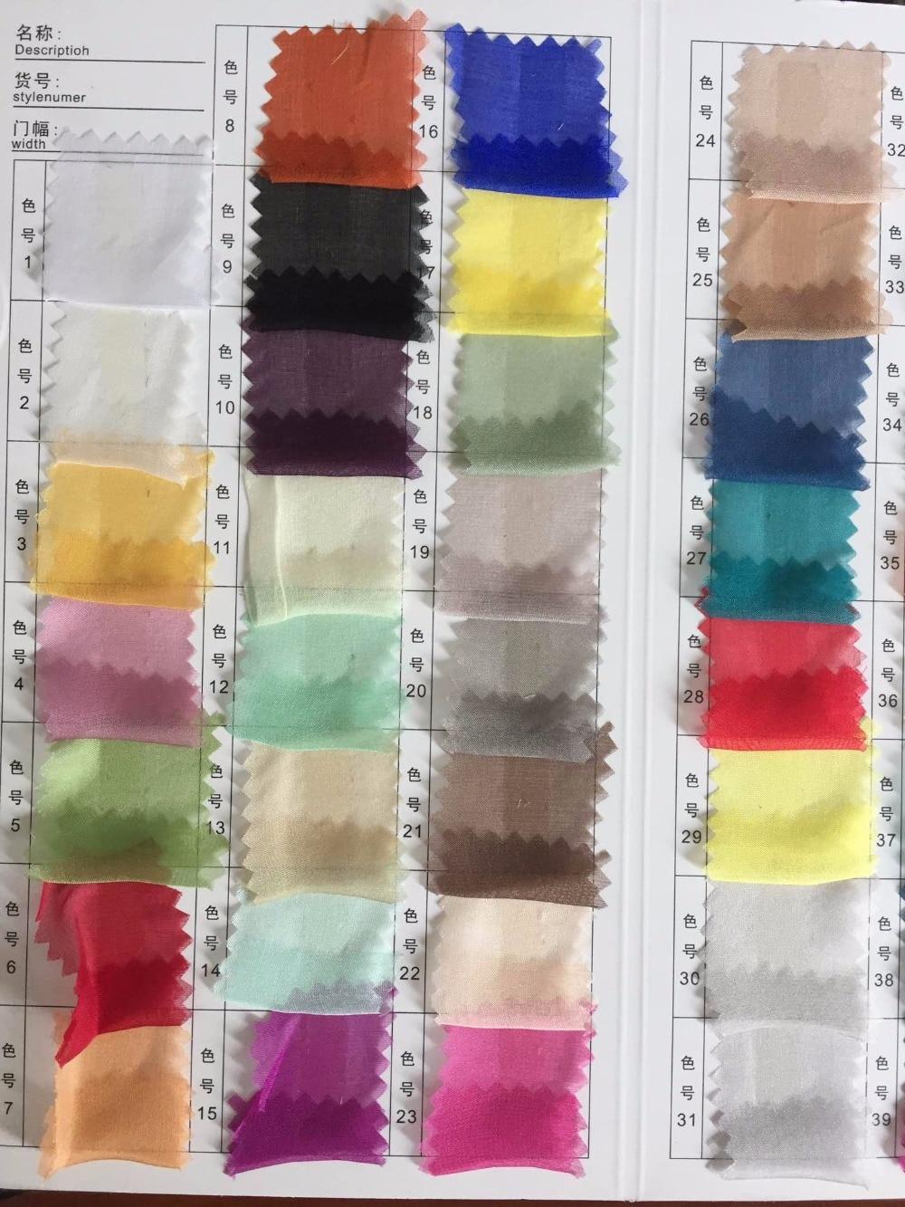 """Jak wiele 100% czysty jedwab szyfonowa 5.5 m/m 140 cm 55 """"wykres koloru dla szalik sukienka szalik dekoracji wielokolorowe do wyboru w Materiał od Dom i ogród na  Grupa 1"""