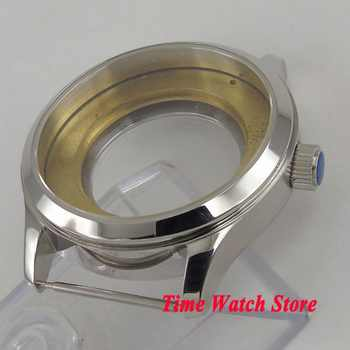 42mm watch case polished 316L Stainless Steel sapphire glass fit ETA 2836 Miyota 8215 movement C20