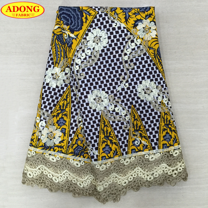 Batik Lace Fabric High Quality Embroidered Nigeria Guipure Wax Lace 6Yards pcs Print Wax fabric With