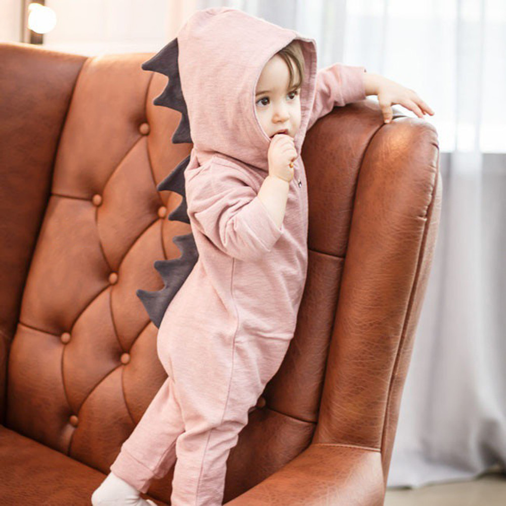 Fast Deliver Cute Newborn Baby Dinosaur Clothes Hooded Romper Jumpsuit Fashion Casual Button Boys Girls Long Sleeve Rompers Outfits Clothes Refreshing And Enriching The Saliva