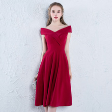 New Fashionable Red Shoulder Bridesmaid Dress 2019 Long Form