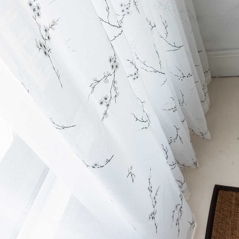 CITYINCITY white soft curtains for living room Burnt-out tulle  kitchen Japanese style curtain For bedroom Window  voile