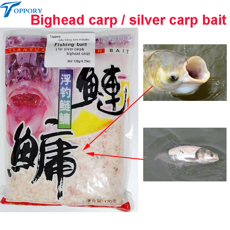 Toppory 2 Bags / Lot 120g Bighead Carp Silver Carp Fishing Baits For Herabuna Taiwan Fishing Hand Rod Fishing Bait Additives
