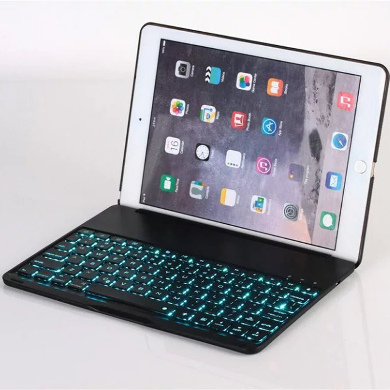 Aluminum Keyboard Cover Case with 7 Colors Backlight Backlit Wireless Bluetooth Keyboard & Power Bank For ipad Pro 9.7 ultrathin wireless keyboard for ipad air bluetooth keyboard with 7 colors backlight backlit magnetic rotating slot smart cover