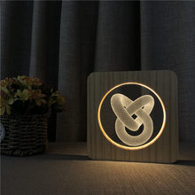 Love knot Abstract 3D Wood Night Light Decor Nightlight USB Desk Table Lamp Visual Bedroom Baby Child Gift Wood Decorative Light(China)
