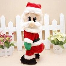 Muñeco de peluche de Navidad de Papá Noel para niños, muñeco de peluche de felpa musical que canta y agita la música, juguete eléctrico para la cadera, decoraciones de escritorio