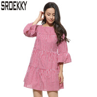 Pleated Autumn Dress 2017 Fashion O Neck Half Sleeve Plaid Women Dress New European Sexy Plus