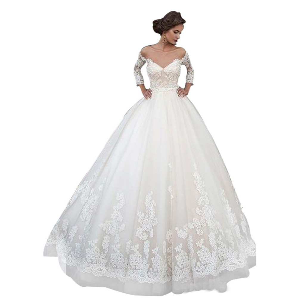 Wedding Gown Boutique: ZYLLGF Bridal Ball Gown Three Quarter Sleeves Victoria
