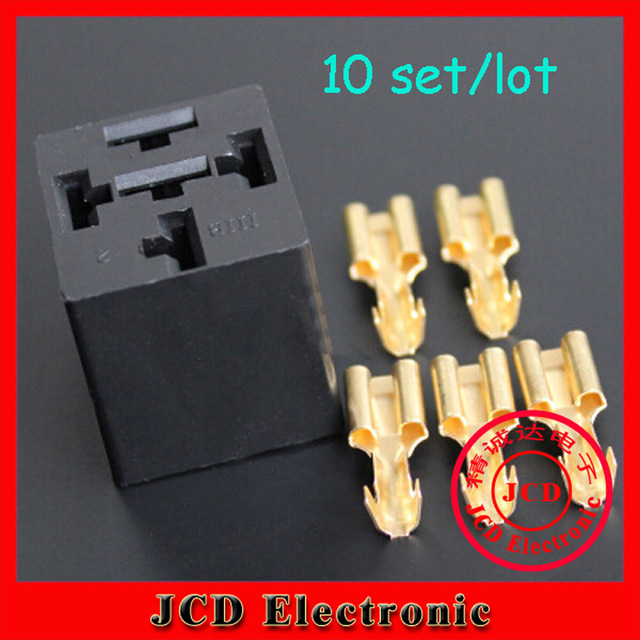 10 sets square automotive relay sockets / universal relay socket relay block  with 5pcs terminals