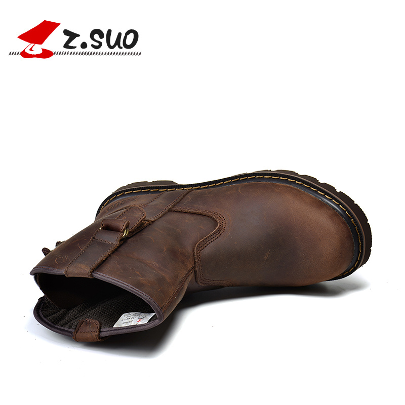 Image 3 - Z.SUO Genuine Leather Women Boots Leisure Mid calf Western Boots 2019 Spring Brown Boots Women Botas Mujer Chaussures Femme-in Mid-Calf Boots from Shoes