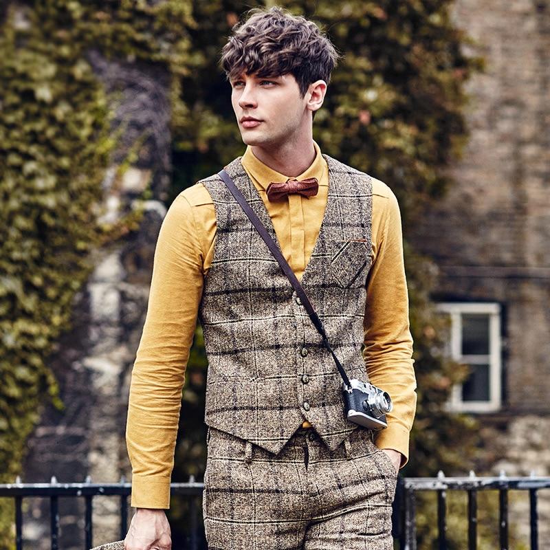 Suit Vest Waistcoat Mens Classic Formal Wedding-Gilet Slim-Fit Plaid Brand Clothing Patchwork