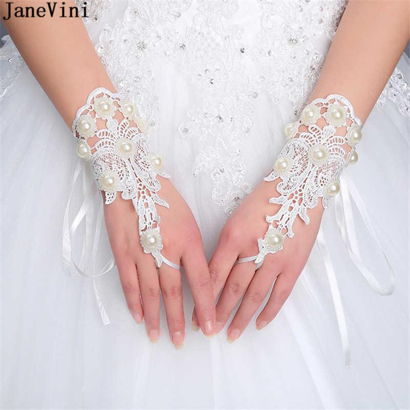 Janevini Fashion Pendek Putih Pernikahan Sarung Tangan Pergelangan Tangan Panjang Renda Appliques Mutiara Renda Jari Sarung Sarung Tangan Pengantin Pernikahan Aksesoris