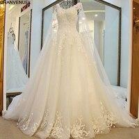 LS23990 Robe 2016 Vente Chaude Perlée robe de Bal Cap Manches De Mariage dentelle De Mariage Robe Robe De Noiva Robe De Mariage Robe de Mariée