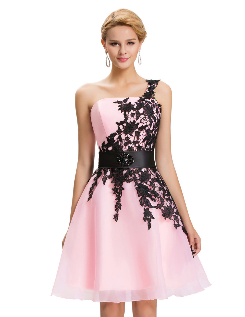 Brands New 2017 One Shoulder Black Lace Evening Gown Vestido de Noche  Vintage Short Evening Dress Formal Pink Gowns 4288 52be91665f4a