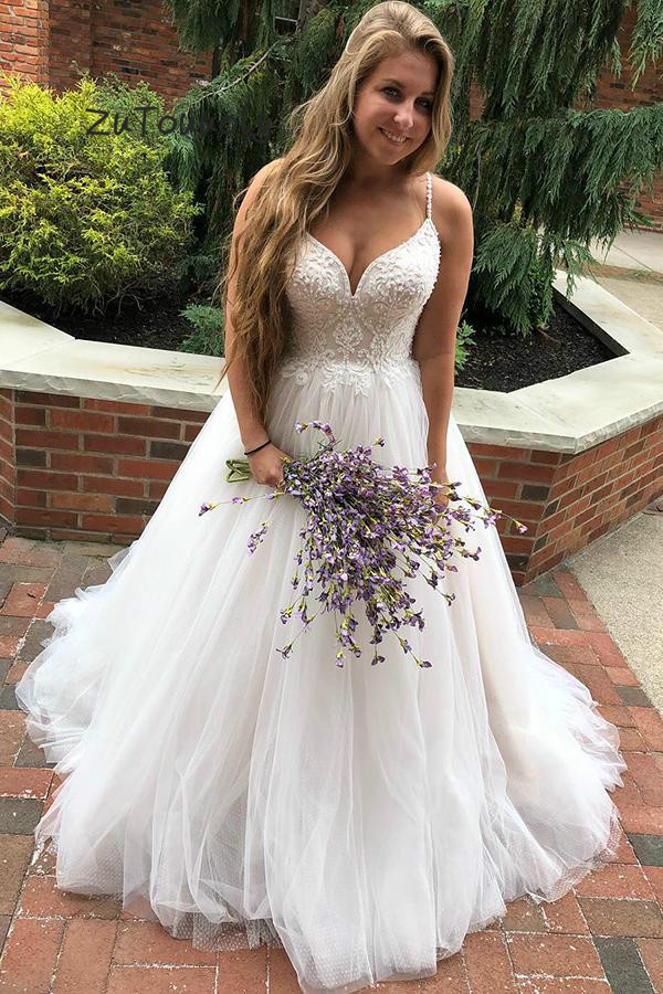 US $125.15 21% OFF|Rustic Wedding Dresses Plus Size Honeymoon Beach Wedding  Dress With Beaded A Line Tulle Simple Turish Bridal Gown Princess Bride-in  ...