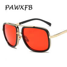 PAWXFB 2018 New Fashion Women Red Lens Square Sunglasses Metal Frame Mirror Men Sun Glasses Retro Brand Designer Eyewear Shades