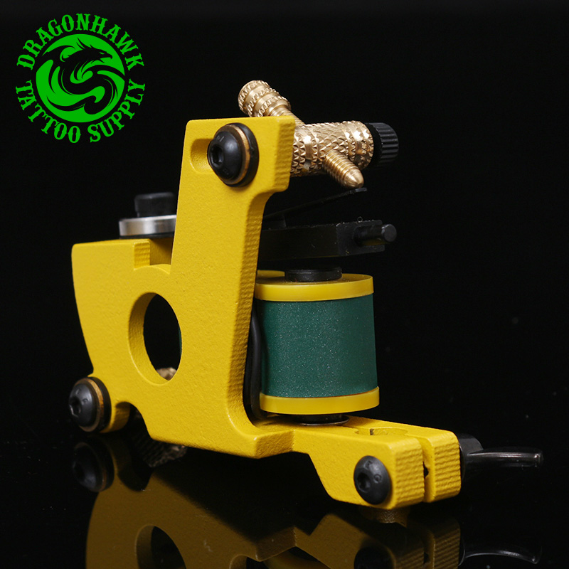 Hot Sale Professional Handmade Tattoo Machine 10 Wrap Coils Machine For Shader And Liner Yellow Color