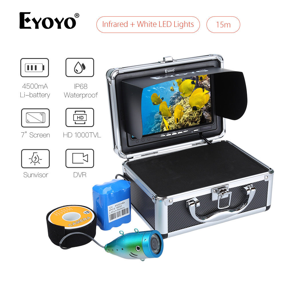 Eyoyo 7inch Fish Finder 15M DVR LCD Monitor Detector IR+White LED Adjustable Underwater Fishing Camera Night Vision 8GB Card eyoyo single 7 lcd monitor without dvr function for eyoyo fish finder underwater fishing camera