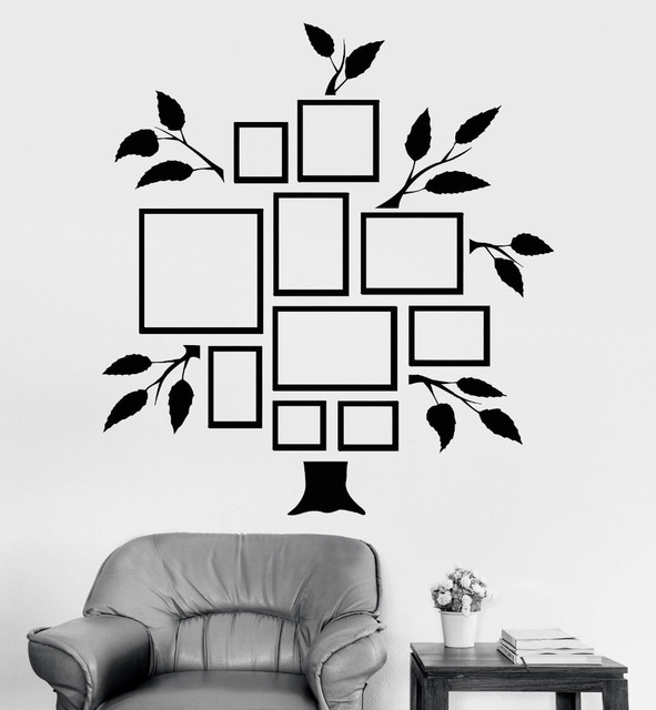 photo tree vinyl wall decal family tree frames for photos bedrooms