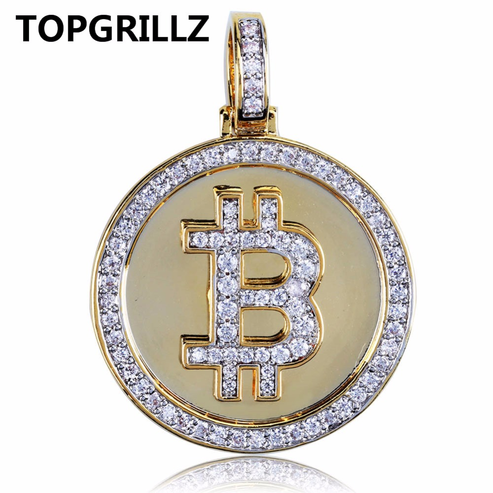 TOPGRILLZ Hip Hop Gold Color Color Plated Iced Out Micro Pave Zirconia Round Bitcoin Pendant Necklace For Men Three Chains