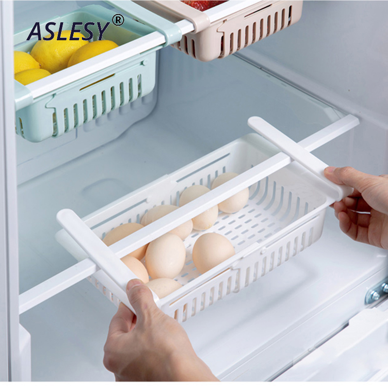 Adjustable Kitchen Storage Rack Stretchable Refrigerator Organizer Accessories Storage Rack Drawer Shelf Pull out Organiser in Racks Holders from Home Garden