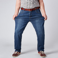 Jeans Man Super Large Plus Size Fatter High Stretch Middle Aged Denim Jeans Casual Middle Waist
