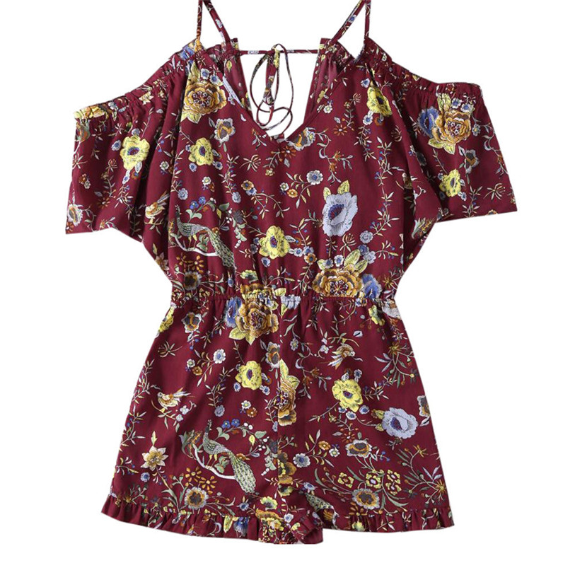 Jumpsuit 2017 New Fashion Sexy Women Floral Print V-neck Short Sleeve Party Evening Mini Jumpsuit Red Plus Size May 26