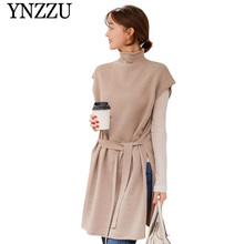 YNZZU Turtleneck Pullover Sleeveless Knitted Vest Women 2019 Autumn solid loose causal sweater Side split female waistcoat YT654