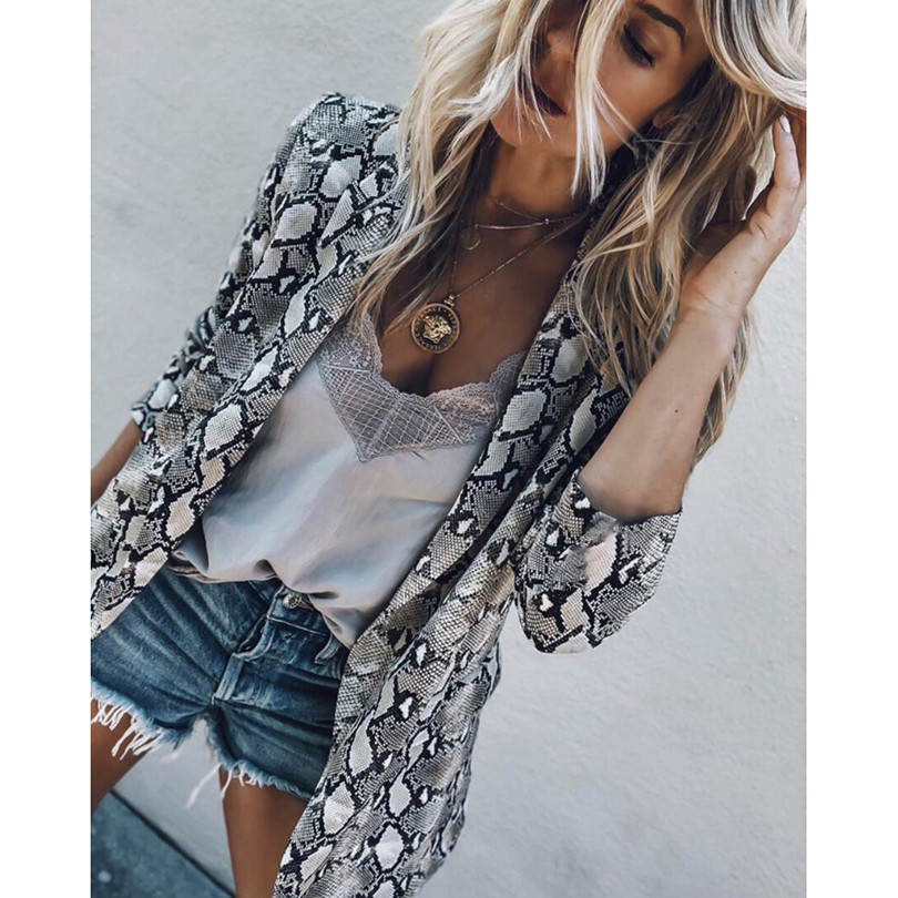 Women Vintage Snake Print Coats Turn down Collar Long Sleeve Coat Female Outerwear 2019 Fashion Casaco Feminine Jackets Chemisier