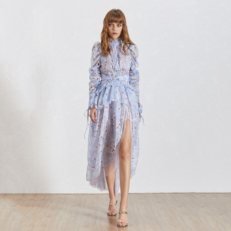 TWOTWINSTYLE 2019 lato elegancka asymetryczna sukienka damska stanąć kołnierz z długim rękawem drukuj hafty kobiece sukienki moda nowy w Suknie od Odzież damska na  Grupa 3