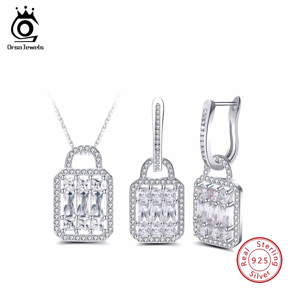 ORSA JEWELS Real 925 Women Sterling Silver Jewelry Sets AAA Cubic Zircon Trendy Lock Shape Anniversary Necklace Earring Set SS05 real freshwater pearl jewelry set women trendy anniversary 925 sterling silver ring jewelry necklace earring sets