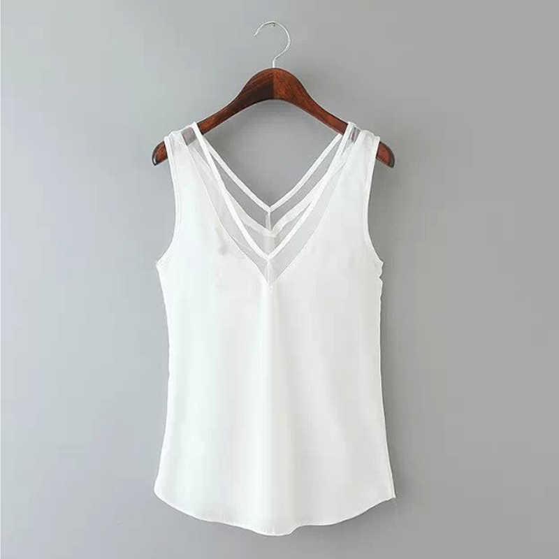 נשים שיפון סקסי חולצות חולצות 2019 גבירותיי V צוואר שרוולים מקרית Blusas רשת אחוי לראות דרך Slim למעלה בתוספת גודל