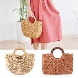 Summer Beach Bags for Women 2019 Woven Handmade Rattan Straw Bags Women Casual Tote Large Wristlet Bag Travel Ladies Handbag