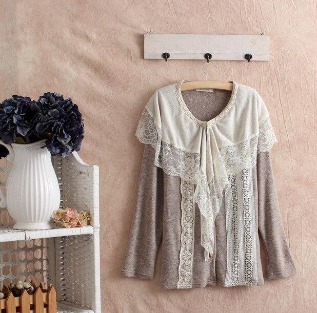 Mori Girl Lolita стиль шарф воротник кружевной топ футболка свободные большие размеры для женщин Cawaii Лолита девушка качество рубашки туника топ одежда - Цвет: khaki