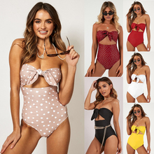 Sexy high waist bikini 2019 personality wrapped chest knotted ladies one piece swimsuit 6 styles printed nylon beach