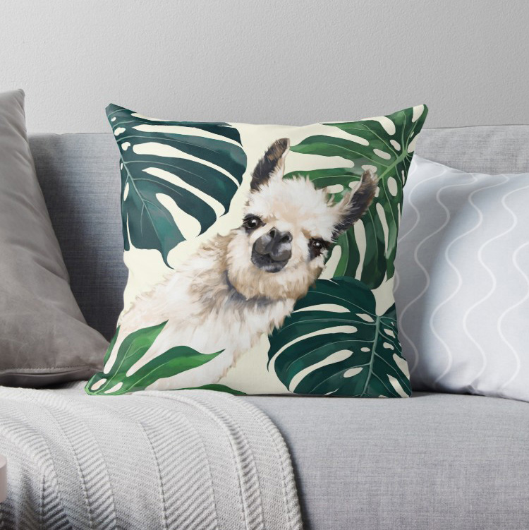 Sneaky Llama in Tropical Monstera Pillow Covers Cases Pattern Nordic Cover Cushion Pillowcase Square Print