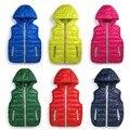 2016 Niños Calientes chalecos chalecos niñas/boy Prendas de Abrigo y Abrigos chaleco de color caramelo de la Marca Niños chaquetas de Otoño/invierno bebé prendas de Vestir Exteriores
