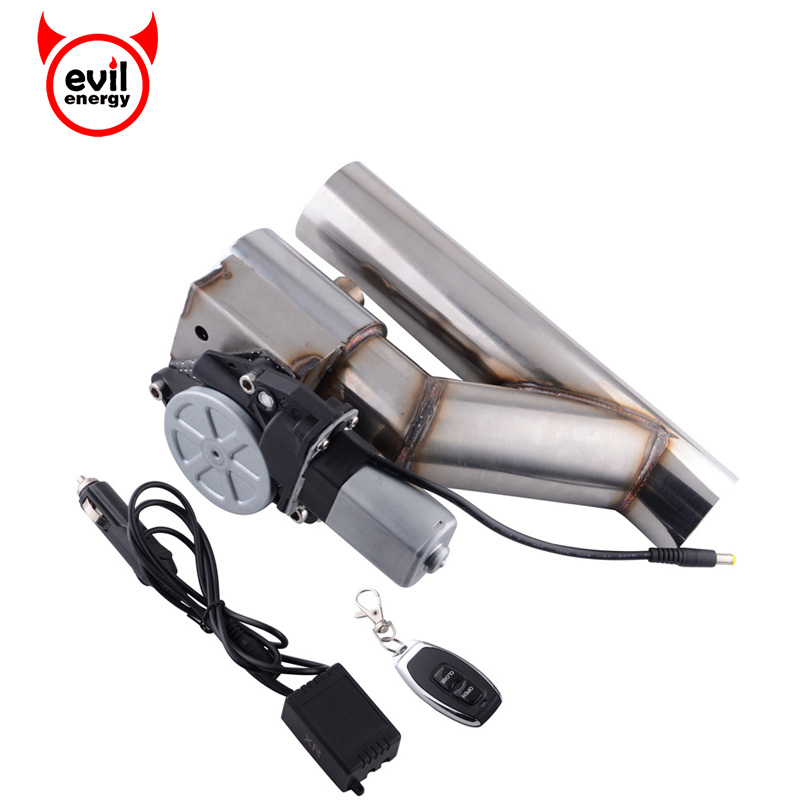 evil energy 3 76mm Stainless Steel Headers Y pipe Electric Exhaust CutOut Exhaust Downpipe Catback Cut