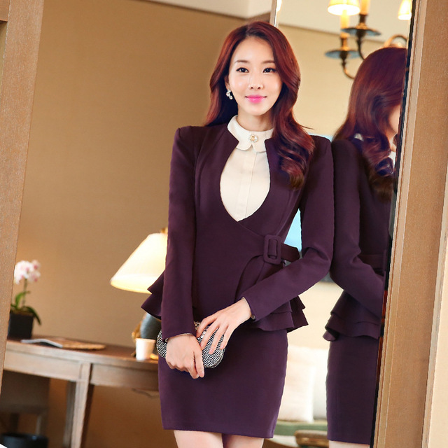 The new professional skirt two sets of autumn clothing suits fashionable long - sleeved work clothes temperament dress do366