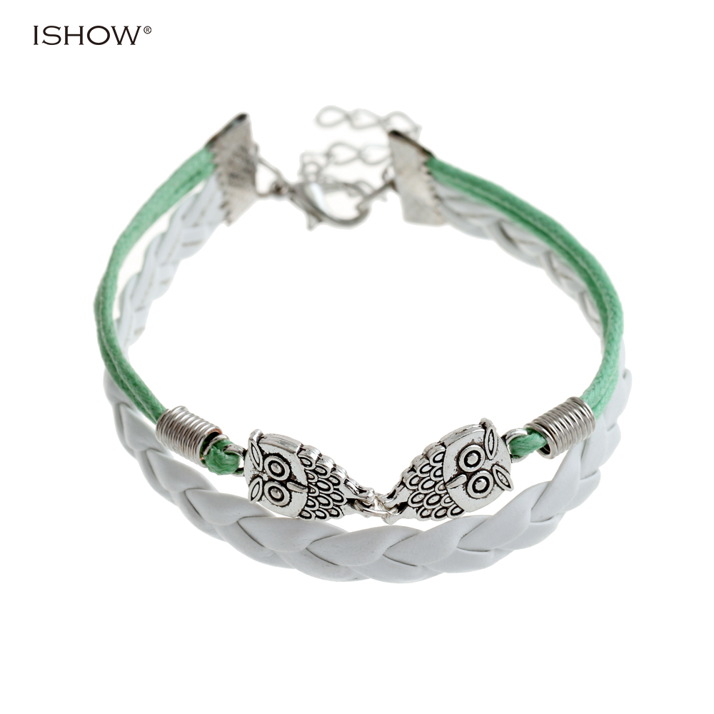 New Fashion Braided Friendly Alloy PU Leather Bracelet Wax Rope Chain Owl Bracelet For Women as Gift For Friend