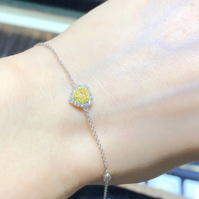 b8b7e0a1b61f € 608.29  ANI 18 K oro blanco (AU750) mujeres pulsera SI certificado 0.289  quilates amarillo Natural Real Diamante de forma de corazón de la ...